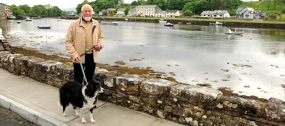 Noel Scanlon, Novelist, walking his dog